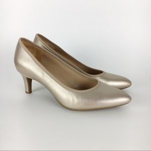 Naturalizer Leather Oden Champagne Gold Heels 6.5